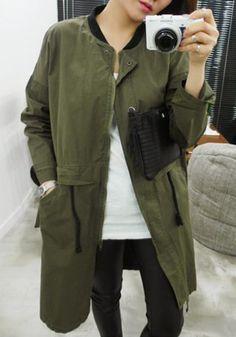 Green Monogram Drawstring Pockets Band Collar Casual Cotton Trench Coat
