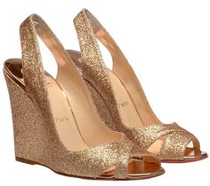 Christian Louboutin Maplesoft gold glitter wedges, If you think wedges can't ever be glamorous, here's Christian Louboutin's Wedge Wedding Shoes, Wedge Shoes, Louboutin Wedges, Christian Louboutin Outlet, Bridal Sandals, Gold Shoes, Bride Shoes, Just In Case, Fashion Shoes
