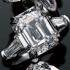 Brides: Iconic Shapes ~ Harry Winston emerald-cut 7.73 ct. diamond ring