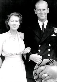 The future Queen Elizabeth II of England received a square-cut diamond engagement ring with diamond side stones set in platinum from Lt. Philip Mountbatten, the future Prince Philip, Duke of Edinburgh. The diamonds for Queen Elizabeth's engagement ring have a special history: they came from a tiara belonging to Philip's mother, Princess Andrew of Greece.