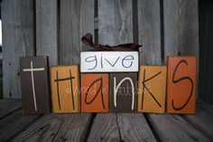 Give Thanks wood block primitive set . . .  fall autumn thanksgiving seasonal decor wood block set. $28.95, via Etsy.