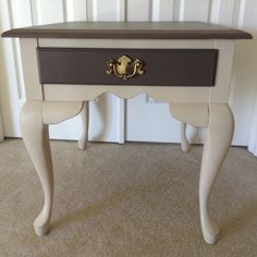 Tan And Cream Colored End Table I Painted Using Chalk Style Paint. Lightly  Distressed And Sealed With Clear And Darku2026 | Maryu0027s Little Bit Of  Everything ...