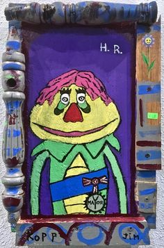 H R. Pop art portrait of H.R. Puffnstuff from the 70s Krofft tv show on wood assemblage. Ready to hang. Contemporary folk art.