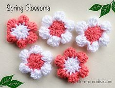 Free Crochet Pattern for Spring Flowers, Applique, by Pattern-Paradise.com…
