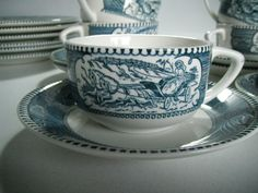 Currier & Ives cup & saucer - 1960's