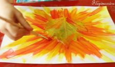 Leaf painting - great idea for fall art