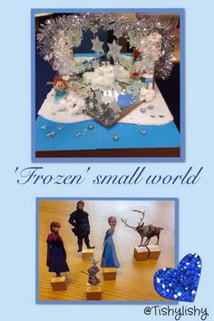 My Frozen small world area and laminated characters (downloaded from Red Ted Art)