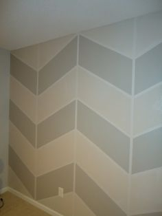 Step-by-step on how to paint a chevron accent wall.  I'm going to do this with a dark chocolate color!