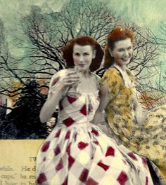 A Toast to Spring vintage women mixed media by MaudstarrArt