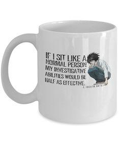 L (Death Note) Quote Mug, White