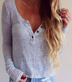 Grey Plain Buttons V-neck Long Sleeve Casual T-Shirt