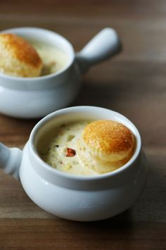 Crab chowder soup topped with a golden baked puff pasty phyllo dough