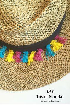 DIY Tassels Sun Hat. Such a fun and easy DIY craft for cute summer fashion.