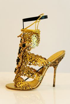 Sergio Rossi Gold Stiletto Sandals Fashion Spring 2014 #Shoes #golden #Luxury