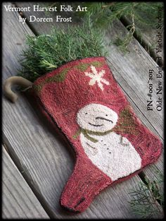 Olde New England Yuletide Stocking-Primitive Punch Needle Design by Doreen Frost- PDF Instant Download Pattern