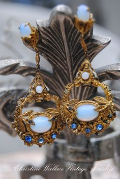 Art Nouveau Opal Glass Drop Earrings...even with missing stones these are so beautiful