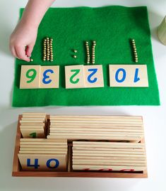 """If you have a young child who is interested in math, the Montessori method of using beads to represent quantities is a great place to start. This is a part of the whole """"concrete to abstract&… Montessori Color, Montessori Kindergarten, Montessori Homeschool, Montessori Elementary, Montessori Classroom, Montessori Activities, Elementary Math, Dinosaur Activities, Homeschooling"""