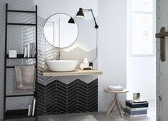 Настоящая плитка шеврон для стен ванной и кухни