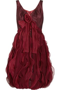 Oscar de la Renta Silk-faille and organza dress | THE OUTNET