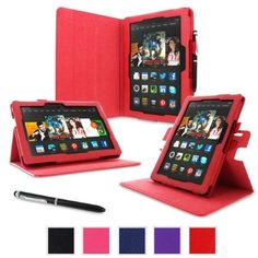 rooCASE Amazon Kindle Fire HDX 8.9 Case - (2014 Current Generation) Dual View Multi Angle Tablet 8.9-Inch 8.9' Stand Cover - RED
