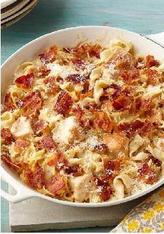 Cheesy Chicken Alfredo Skillet – This easy, one-dish chicken skillet is topped with bacon and parmesan cheese. Sure to please everyone in the family.
