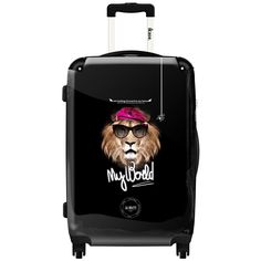 iKase Disco Lion Multicolored Polycarbonate 20-inch Fashion Hardside Carry-on Spinner Suitcase