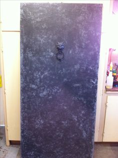 After paint dries Soft brush off rock salt off and drill holes for knocker. Mount door to your hinges.