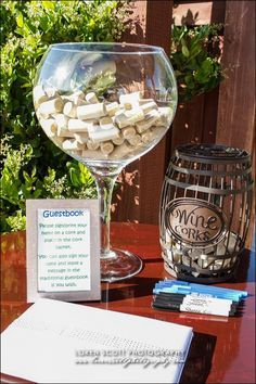 Have your guests personalize a wine cork as your guest book! Bridal Shower Wine, Bridal Shower Tables, Bridal Shower Decorations, Wine Theme Shower, Card Box Wedding, Wedding Guest Book, Wine Cork Centerpiece, Wine Cork Wedding, Wine Parties