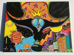 Owltrocity 11x14 Canvas Acrylic Trippy Psychdelic by LunasNook