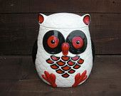 Whooo Loves Owls - Large Modern Ceramic Owl Cookie Jar - Handpainted White Black and Red Ceramic Owl, Non Toxic Paint, Modern Ceramics, Cookie Jars, 7 And 7, Owls, Wings, Hand Painted, Dining Rooms