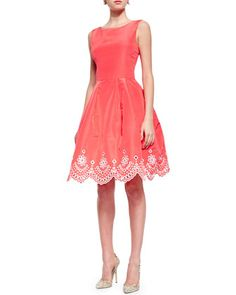 Laser-Cut Eyelet Fit-And-Flare Dress, Granita by Oscar de la Renta at Neiman Marcus.