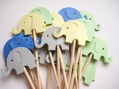 24 Gray, Yellow, Green & Blue Elephants Party Picks These picks are double sided and look great from the back or front and are the perfect Gray Yellow, Blue Green, Grey, Elephant Party, Food Picks, Boy First Birthday, Kids Decor, Cupcake Toppers, Elephants