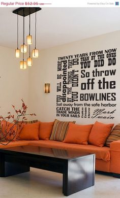 ON SALE Vinyl Wall Decal - Catch the tradewinds in your sails - Quote by Mark Twain - EXTRA Large. $46.07, via Etsy.
