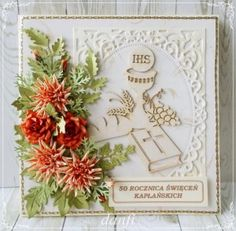 50 świeceń HW First Communion Cards, Quilling, Cardmaking, Invitations, Wreaths, Scrapbooking, Frame, How To Make, Diy