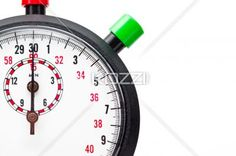 cropped stopwatch over plain white background. - Close-up cropped view of a stopwatch with red and green push button with white background.