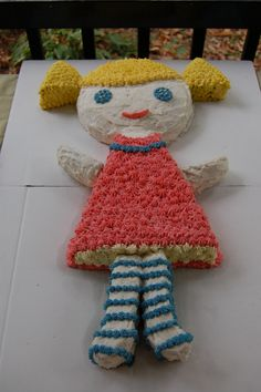Baby doll birthday cake I made per my daughter's request for her third birthday!