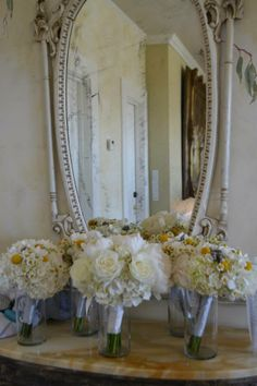 Chic white and yellow bridal bouquets at The Perry House. Fleurish Floral Designs