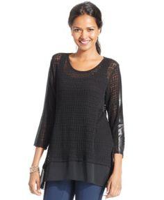 Alfani Petite Mixed-Media Knit Top, Only at Macy's | macys.com