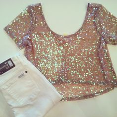 sheer glitter crop top + white skinny jeans--want want want! please!!!!  where the heck do you find this top?