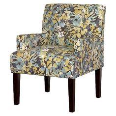 Dolce Upholstered Arm Chair   Blue/Yellow Floral
