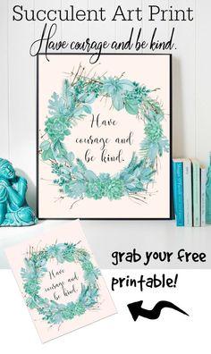 free succulent wreath printable!