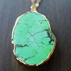 Emerald green turquoise 24 karat gold pendant necklace
