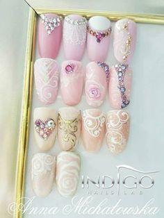 Wedding Nails Design from Anna Michałowska Indigo Educator Radom #nails #nail #wedding #pastel #indigo #wow #omg #sugar #effect #spring