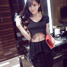 $22.85 Korean Black Short Sleeve Fitted Women Suit