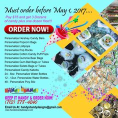 SPECIAL OFFER!! Pay $75 and get 3 dozens of candy plus one dozen free!!! Order before May 1, 2017 🍭🍭 Purchase 3 dozens of 🍬 Personalized 🍬 Handy Shandy 🍬 Candy Packages🍬 and get 1 dozen #FREE!!! Any questions, cares, or concerns please feel free to contact us via email/phone/text: handyshandydesigns@gmail.com or (713) 878-4240 🍫🍫 #HandyCandy #SweetTreat 🍫