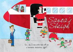 This Funny Accounting Christmas Card Has Santa Boarding His Modern Sleigh And Inquiring