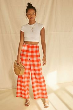 High-Rise Buffalo Plaid Pants Orange Pants Outfit, Forever 21, Plaid Outfits, Teen Fashion Outfits, Kids Fashion, Plaid Pants, Buffalo Plaid, Vintage Outfits, Pants For Women