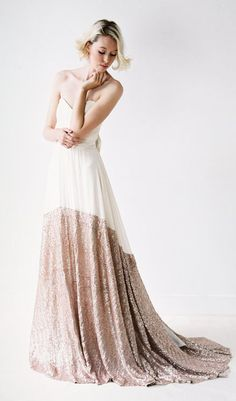 Rose gold dipped wedding gown by Truvelle