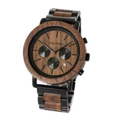 To emulate the beauty of dusk, this chronograph wood watch model features a bold combination of black, brushed stainless-steel in combination with dark walnut wood in the band, bezel, and dial. High End Watches, Cool Watches, Brand Name Watches, Swiss Army Watches, Herren Outfit, Wooden Watch, Watch Model, Luxury Watches For Men, Brushed Stainless Steel
