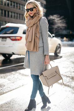 NYFW Fall/Winter 2017, Street Style, Grey Coat, Tan Blanket Scarf, Denim Skinny Jeans, Celine Tie Handbag, Black Ankle Booties